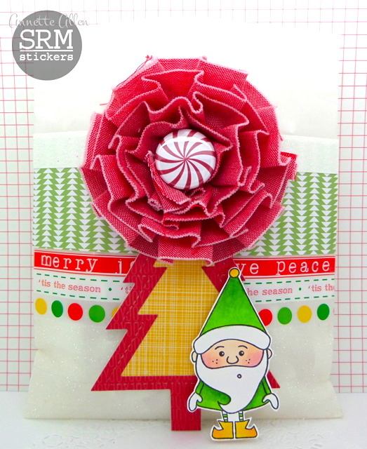 SRM Stickers Blog - Bossy Joscie Christmas Treats by Annette Allen - #Christmas #Bossy Joscie #flair #glassine bags, punched pieces, doily #card