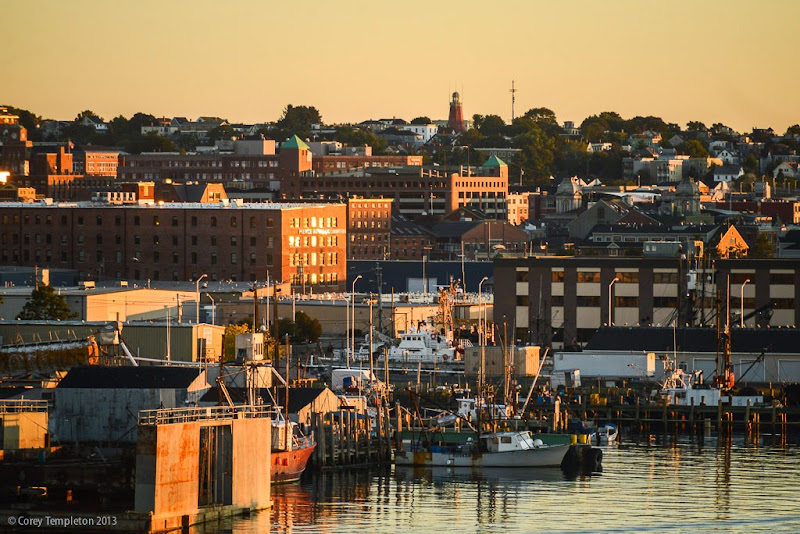 Portland, Maine Fall Sunrise photo with Skyline. Photo by Corey Templeton.