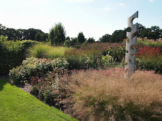 Sussex Prairies Garden. Amazing flowers and good example of garden design. Grasses in the garden