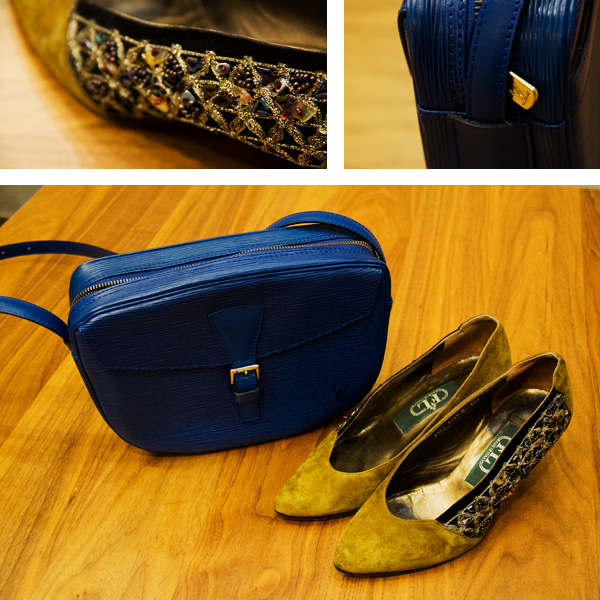 vintage italian shoes, LV epi leather cobalt blue cross body bag, fall outfit, harvest colours, fashion, style, vintage style, street style, thrift style