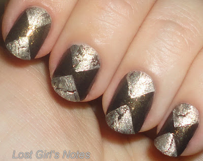 hourglass triangle manicure with crackle nail polish
