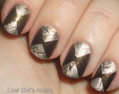 hourglass triangle manicure with crackle nail polish