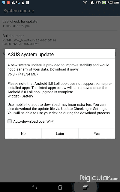 System update Asus fonepad 7 Android Lollipop
