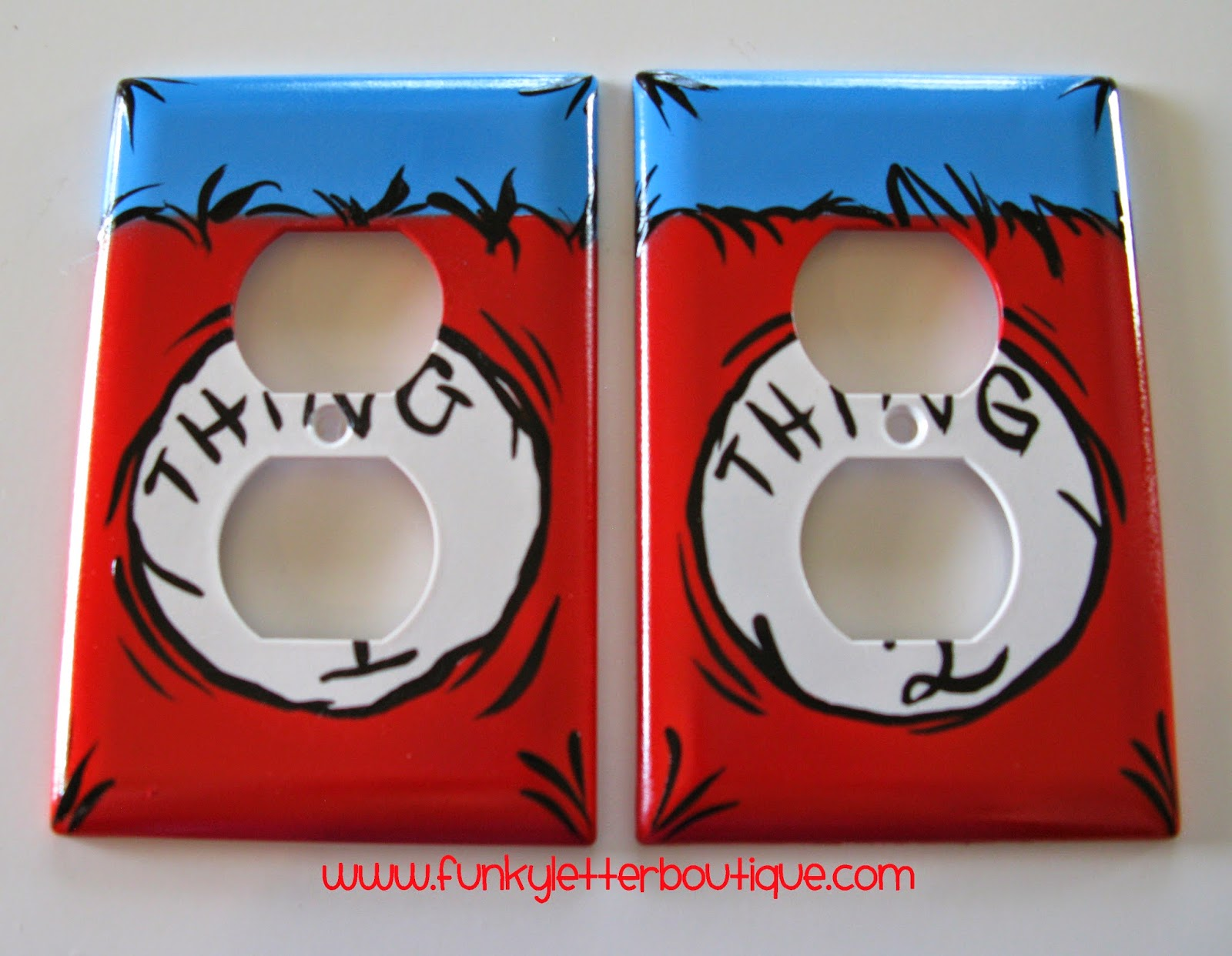 Pottery barn dr seuss shower curtain - Dr Seuss Thing 1 And Thing 2 Outlet Plates