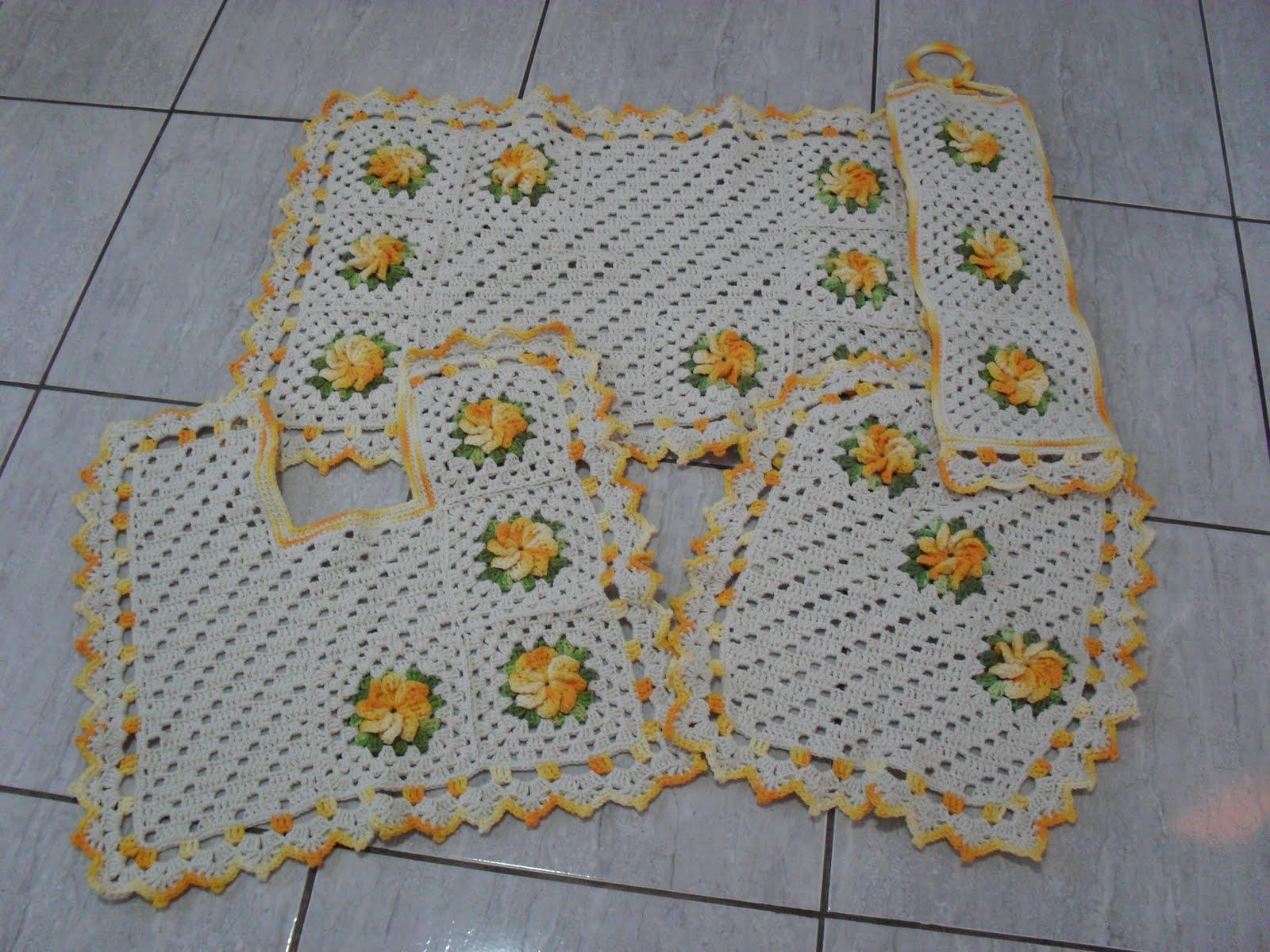 Jogo de banheiro com flores catavento: Crochet com Arte #A06F2B 1600 1200