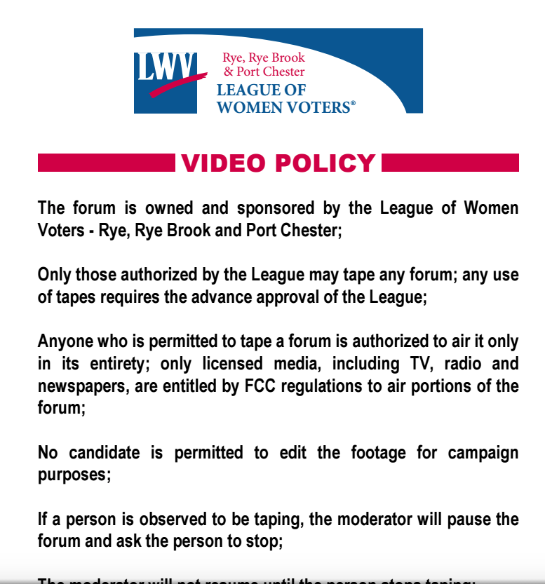VIDEO TAPING POLICY