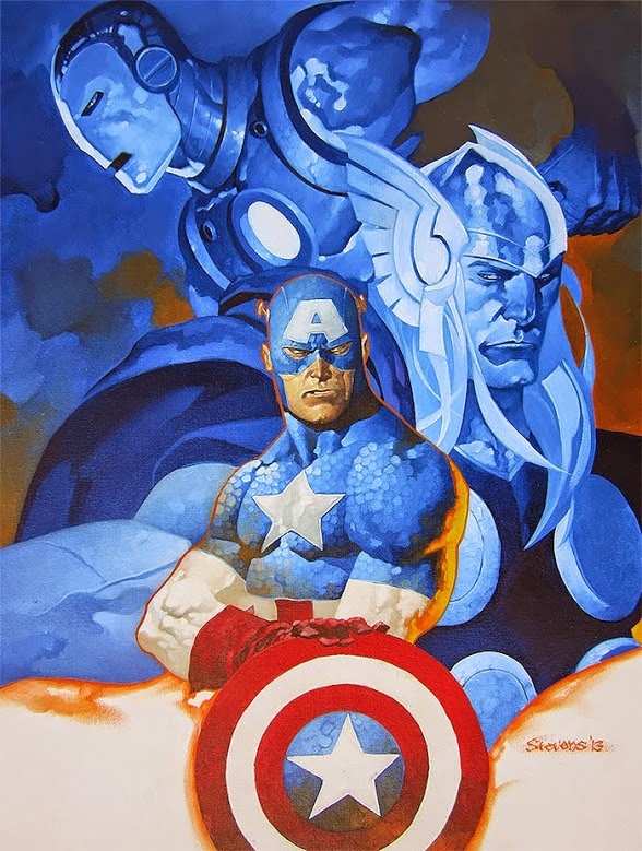 captain america, iron man and thor oil painting