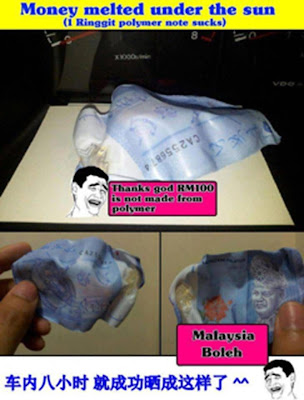 Malaysian polymer ringgit note melts when heated
