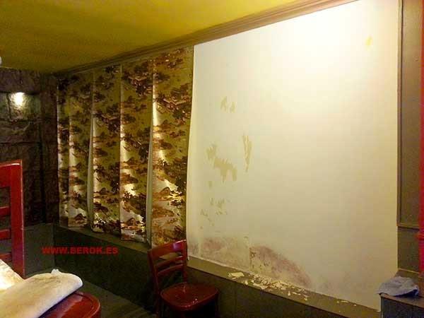 Pared de restaurante chino antes de ser pintada