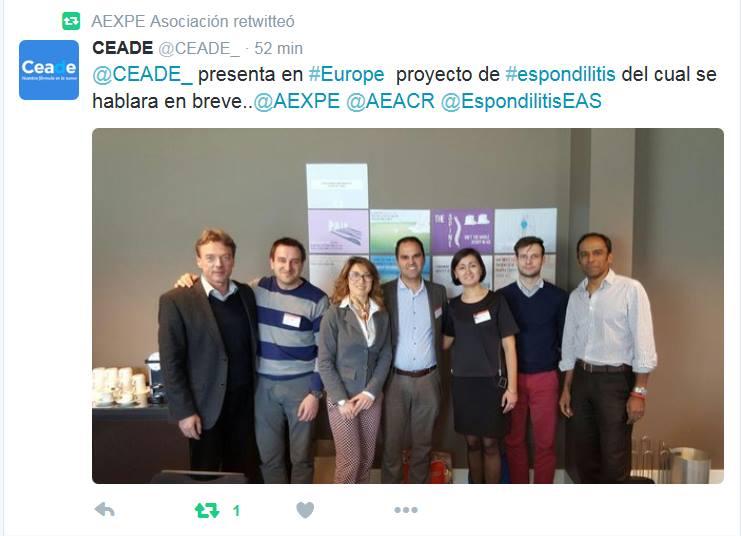 CEADE presenta en Europa proyecto de Espondilitis del cual se hablará en breve