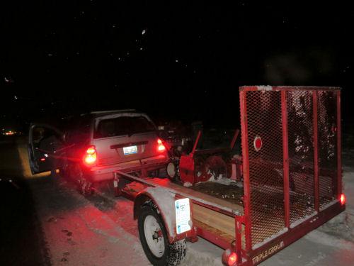 snowblower on trailer