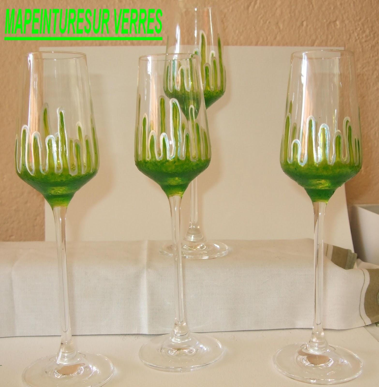 ma peinture sur verre par ingrid cr ation 4 verres vin blanc. Black Bedroom Furniture Sets. Home Design Ideas