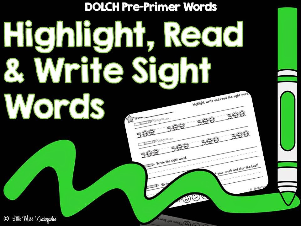 http://www.teacherspayteachers.com/Product/Highlight-Read-and-Write-DOLCH-PrePrimer-Sight-Words-1385806