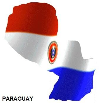 Mapa con la bandera de Paraguay