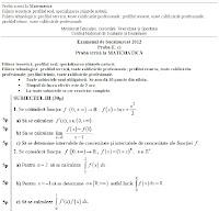 Subiecte matematica M2 - simulare bacalaureat 2012