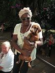 Happy dog and Mom