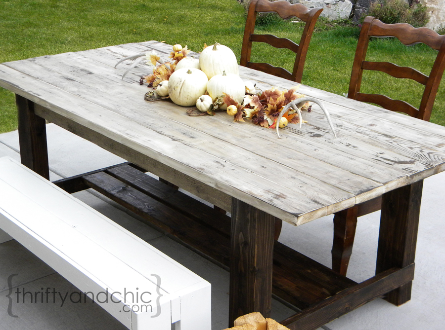 distressed white wood kitchen table 3