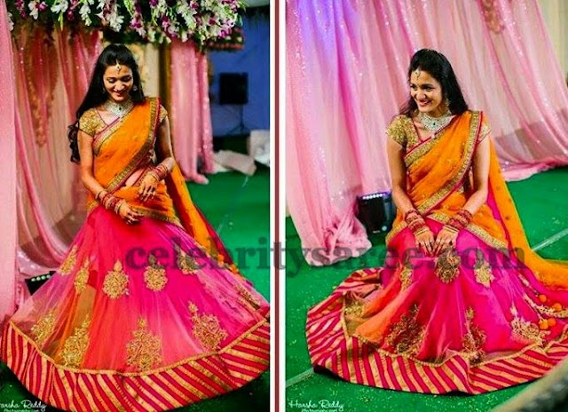 Bride in Mrunalini Rao Half Saree