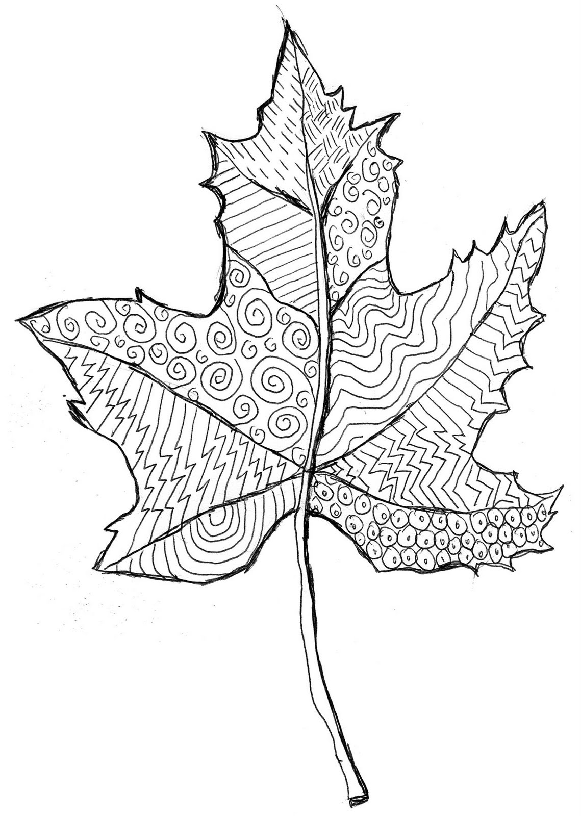 Line Art For Kids : Line pattern leaf art projects for kids