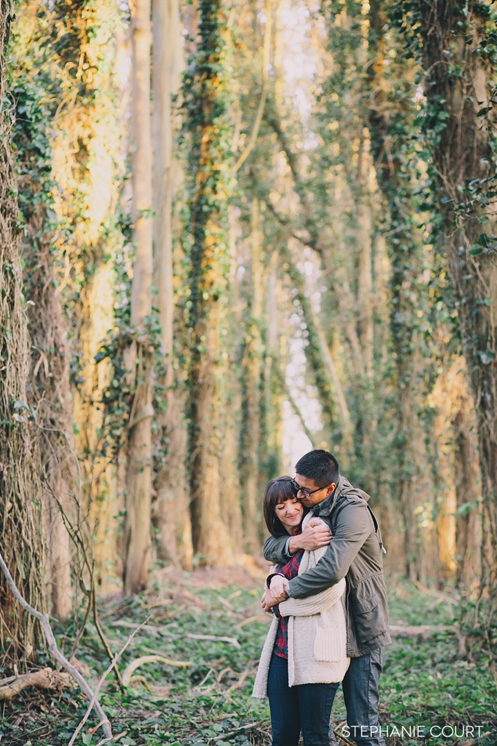 sunset engagement session in the presidio