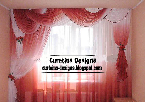 Unique Red And White Drapery Curtain Model For Bedroom