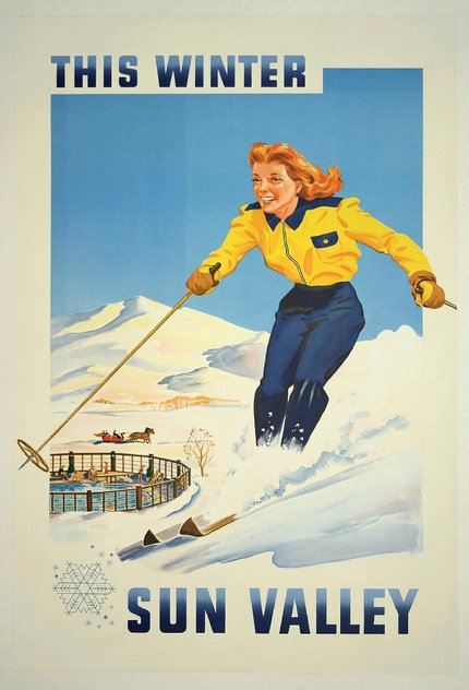 classic posters, free download, graphic design, retro prints, skiing, sports, travel, travel posters, vintage, vintage posters, This Winter Sun Valley, Idaho - Vintage Travel Sports Poster