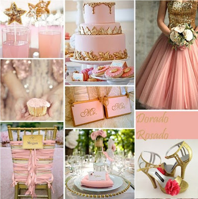 decoração casamento rosa e dourado