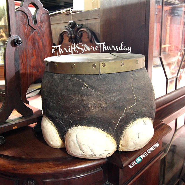 #thriftscorethursday Week 16 Elephant Foot Ottoman from Euro Treasures | www.blackandwhiteobsession.com