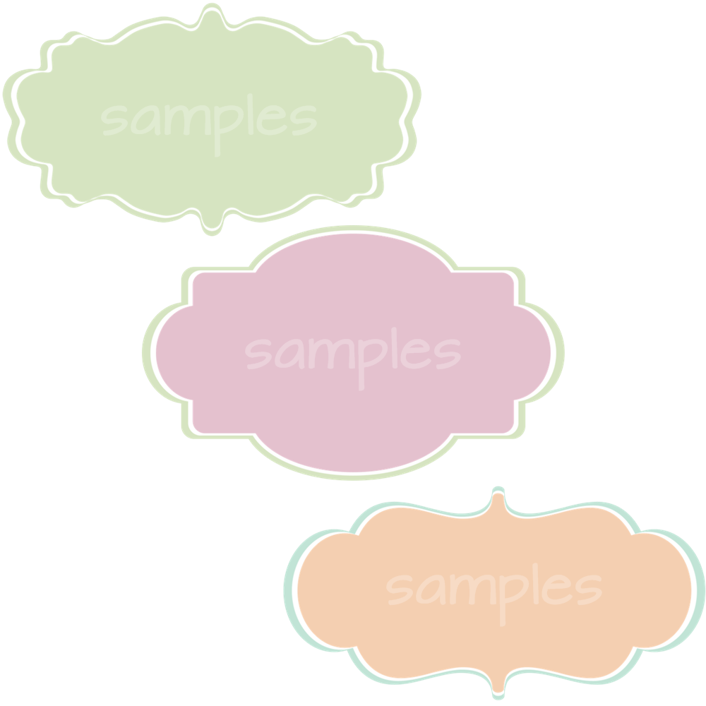pastel colored labels with a white border