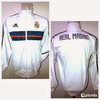 Jaket Bola Real Madrid Putih List Hitam