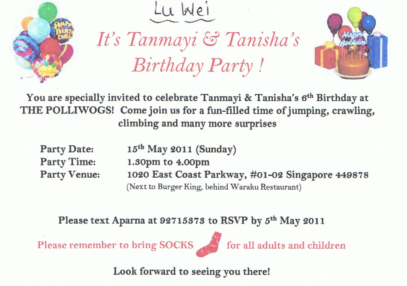 Singapore Our Home Friends Birthday Invites - Birthday invitation cards singapore