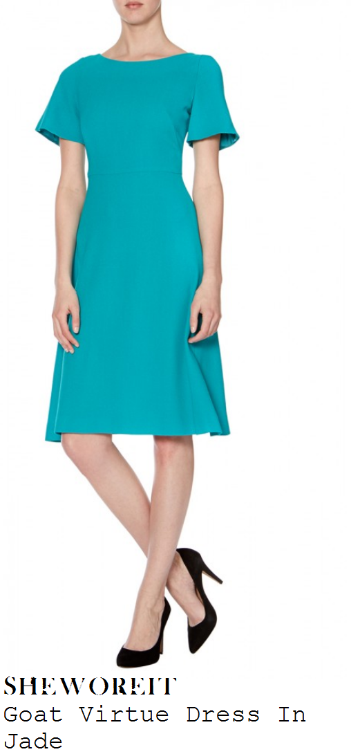 myleene-klass-jade-green-short-sleeve-fit-and-flare-dress-loose-women