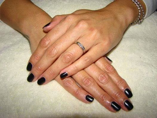Matte black LED polish manicure