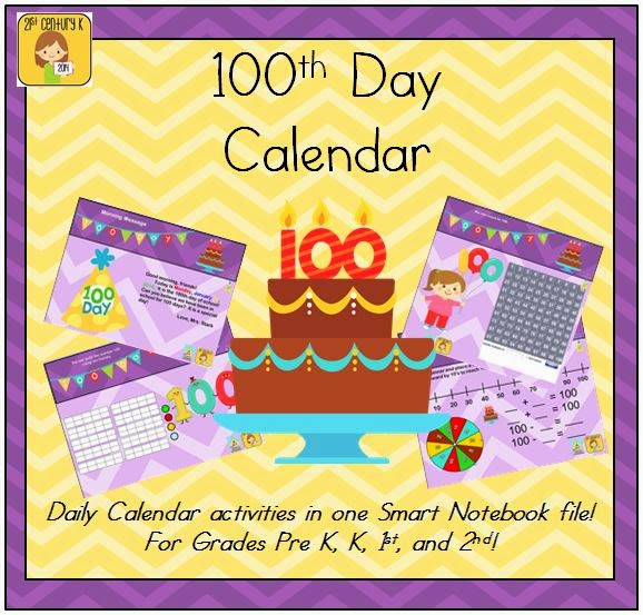 http://www.teacherspayteachers.com/Product/100th-Day-of-School-Interactive-Calendar-for-SMART-Board-PK-K-1st-2nd-1066735
