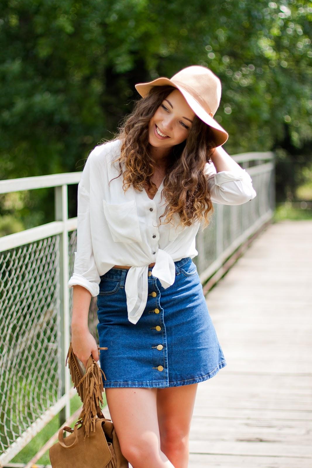 jeansowa spódnica sheinside stylizacja