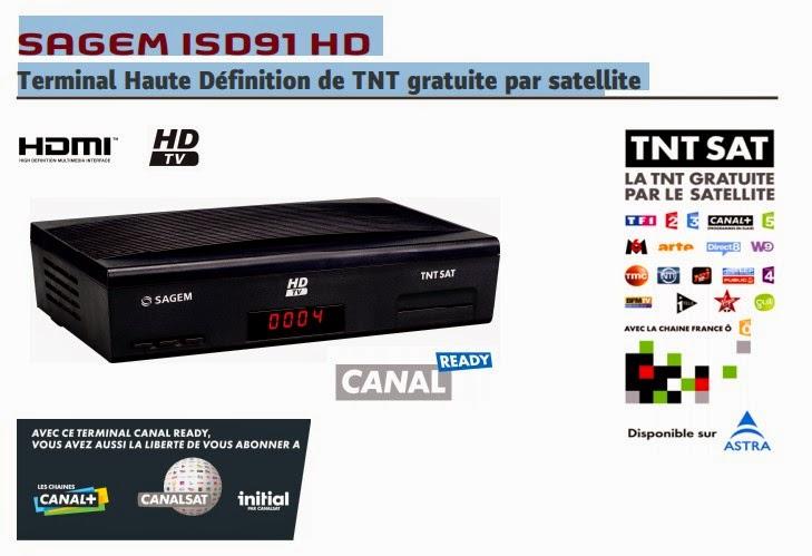 SAGEM ISD91 HD  Terminal Haute Définition de TNT gratuite par satellite