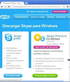 Descarga de Skype en navegador