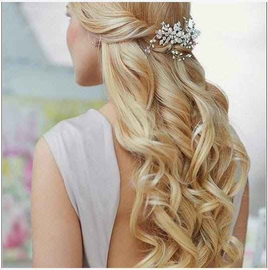 Hairstyles For Prom Half Up Half Down With an Embellished Clip