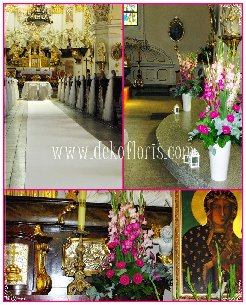 ślubna dekoracja kościoła - biały dywan - Krapkowice opolskie