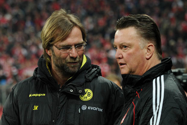 OLD RIVALRY: Klopp and Van Gaal went head-to-head four times when managing in Germany