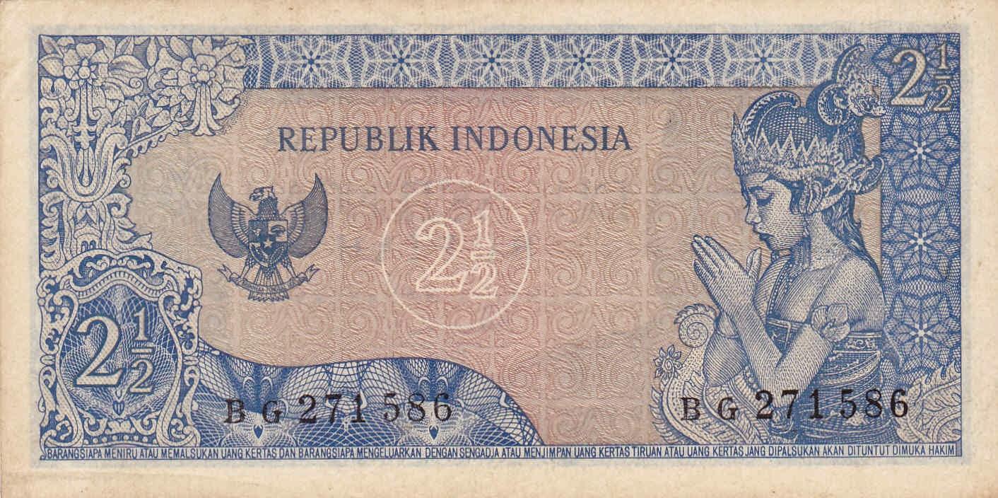 uang kuno Seri Soekarno tahun  1964 Pecahan 2 Setengah rupiah