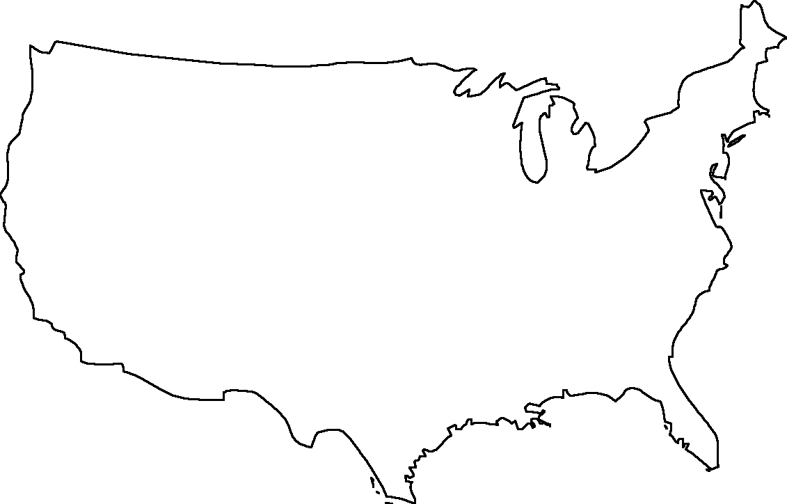 Free blank printable map of USA with absolutely no labelling. Even state lines are not marked. Great for geography tests!