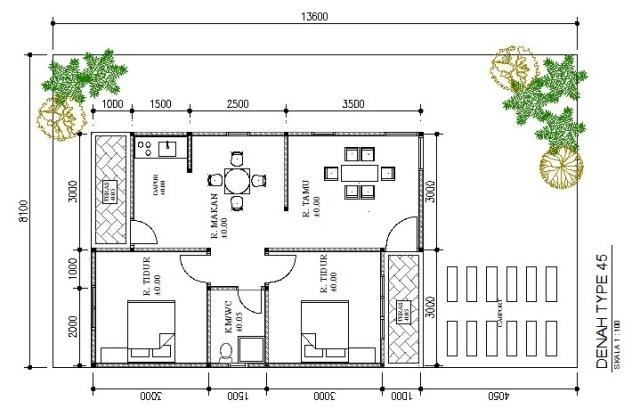denah rumah type 45 yang nyaman untuk 6 orang rumah