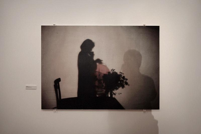 Quadro na parede, com uma figura pintada e sobre o fotógrafo sobre o quadro