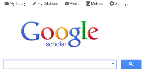 Google Scholar home page showing services