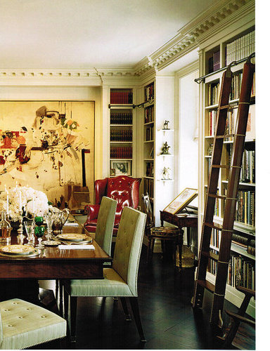 Victoria dreste designs library dining rooms for Dining room library