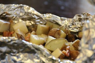 raw diced potatoes in a foil pack