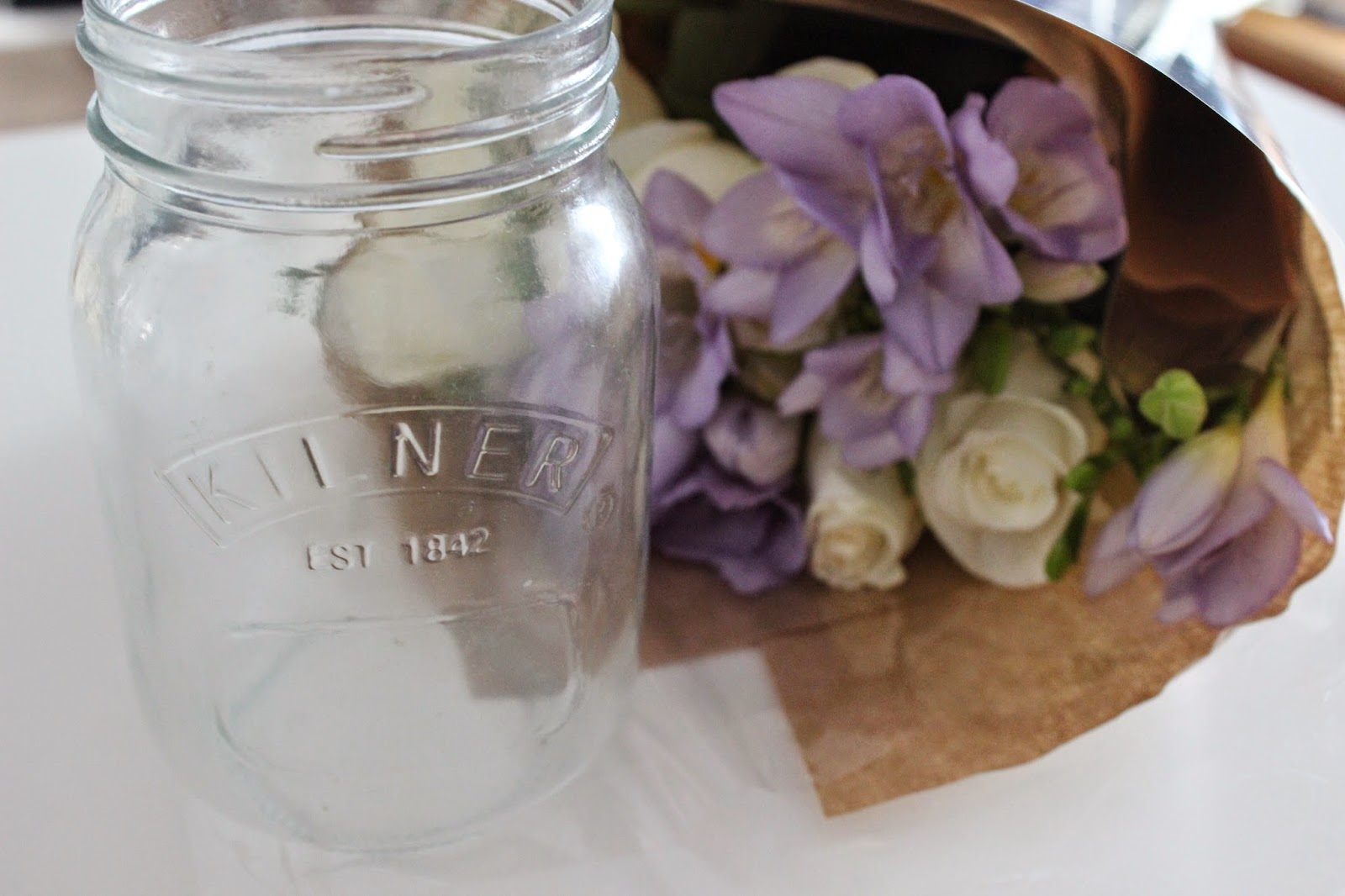 kilner jar, flowers