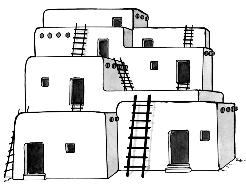 Indian Adobe House Coloring Pages