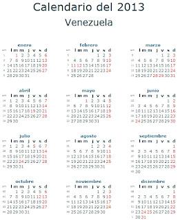 Calendario 2013 Venezuela feriados fiestas